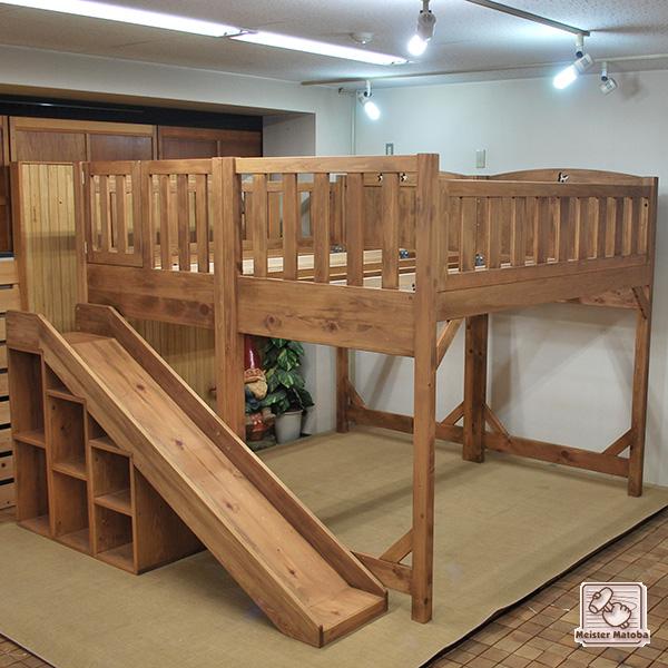 Â�ミダブルロフトベッドとセミダブル二段ベッドとスベリ台の組み合わせ 1307023 DŽ�垢木製オーダーベッド製作