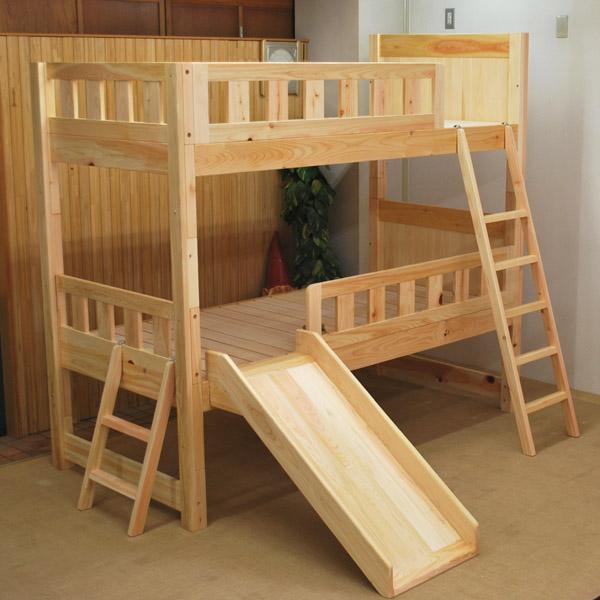 スベリ台付き ひのきニ段ベッド2012