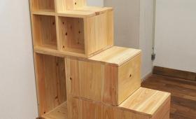 棚付二段ベッドと階段と天井つっぱりNO1411022