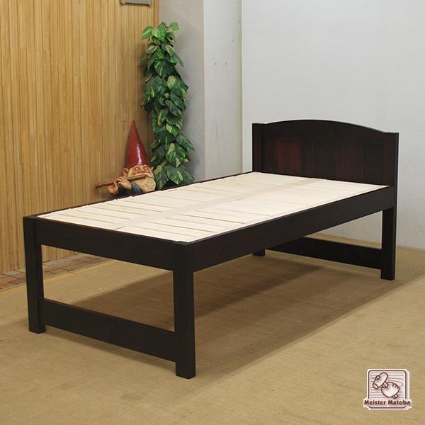 紫檀(シタン)色のひのきロフトベッド寝台高さ55cm NO1309016