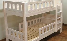 ひのき棚付白い二段ベッド 白仕上げソフトすのこ NO1412019
