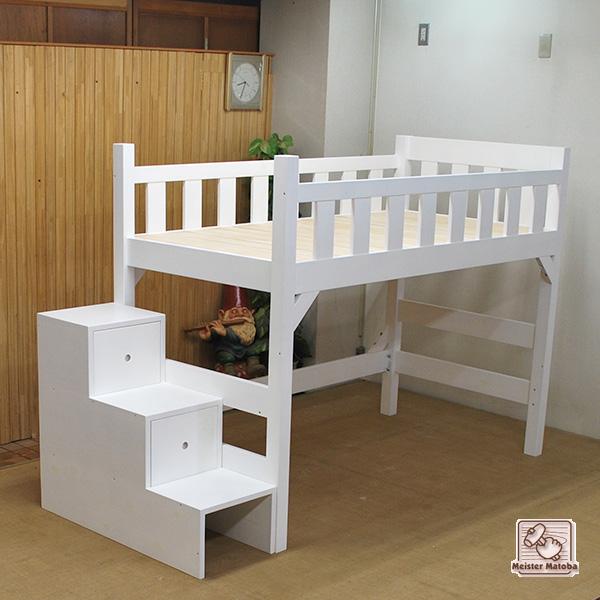 ひのき真っ白ロフトベッド階段付き ベッド下100cm NO1310028