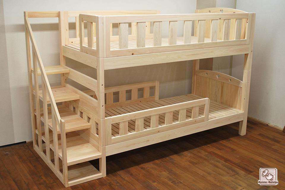 手すり付き階段付き二段ベッド、キシミ音も解消NO1503012