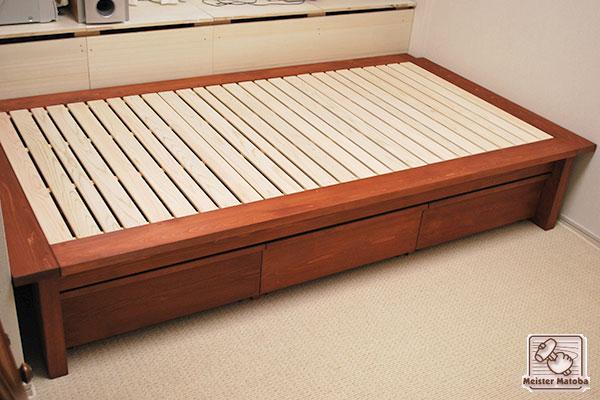 ひのきベッド 収納付 マホガニ