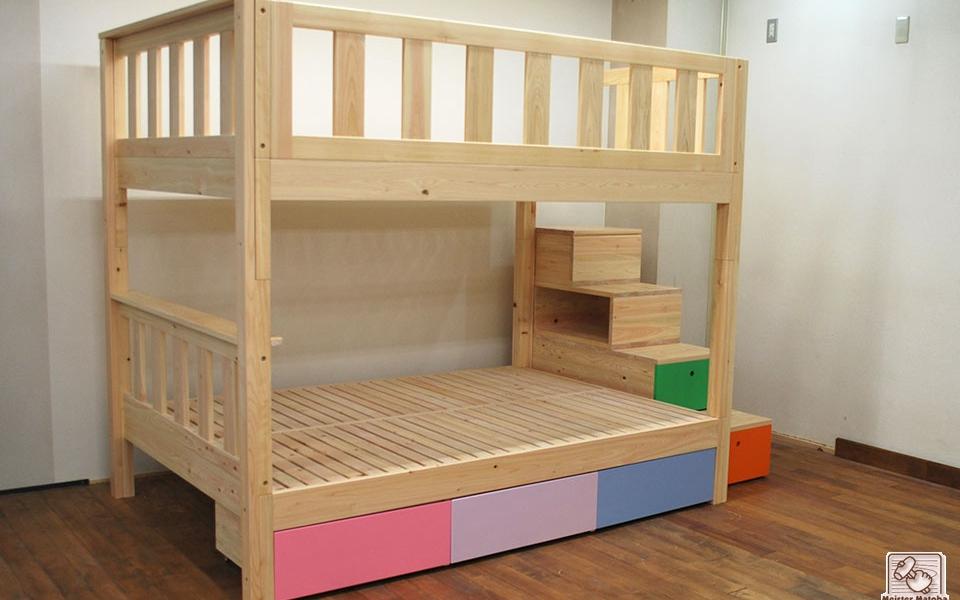 階段   無垢木製オーダーベッド製作実績・ロフトベッド・二段ベッド他