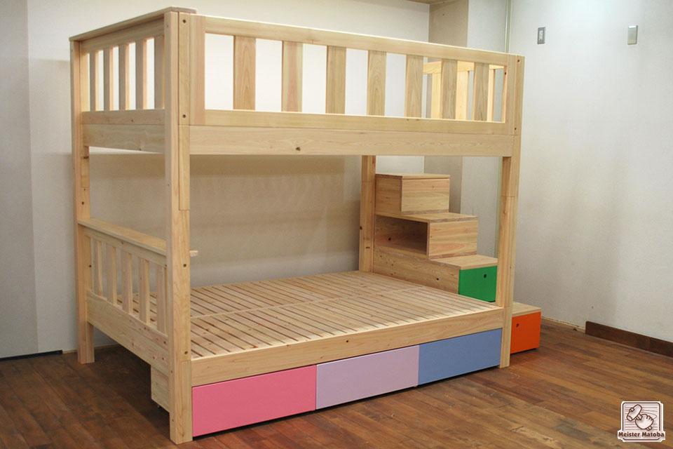 ダブルサイズの二段ベッド階段と収納付 NO1505043-2B