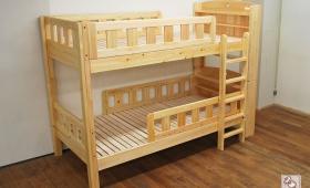 ひのき棚付二段ベッド、オーダーで棚を追加NO1509037