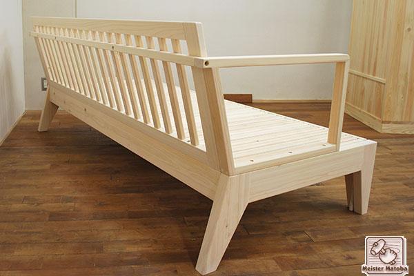 無垢ひのき幅120センチに広がるソファーベッド