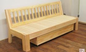 背もたれ付き無垢ひのき伸縮ソファーベッド NO1606039