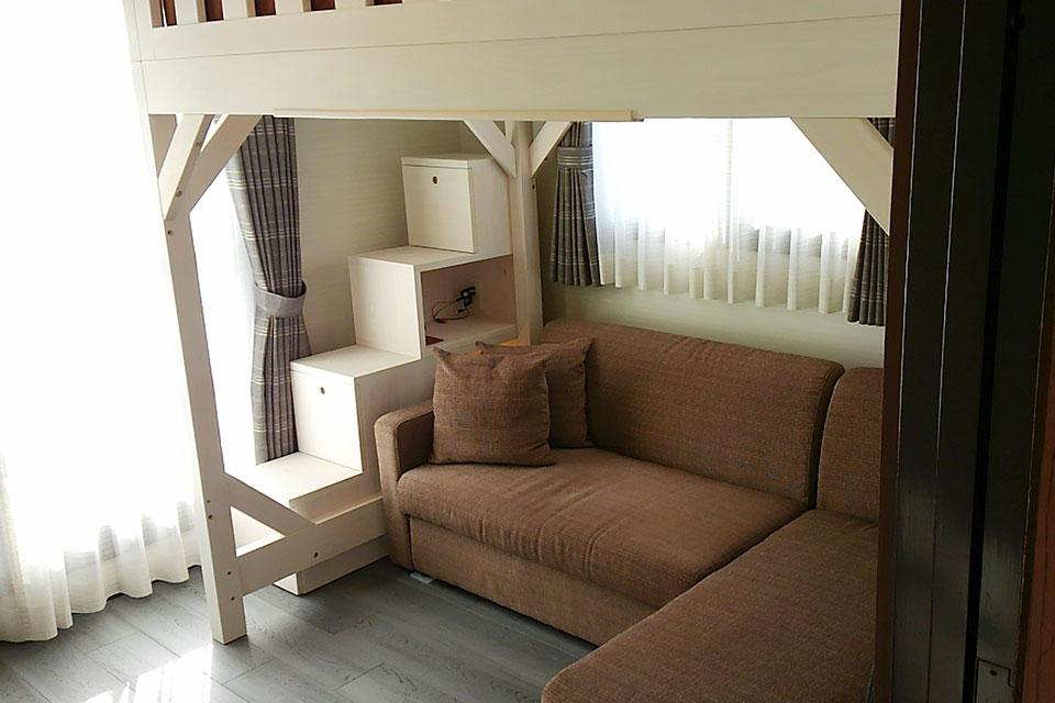 ひのきロフトベッドの下にソファーを NO1607023