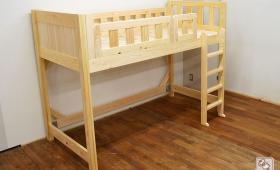 小ぶりな棚付ロフトベッド 寝台高さ115cm NO1702014