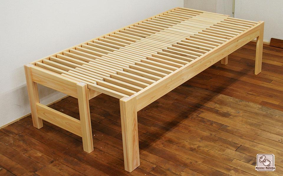 ひのき広がる伸縮ベッド 寝台高さ52cm ベッド下40cmの空間 1703015