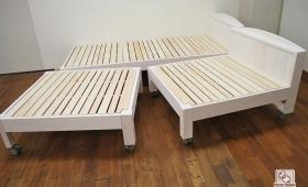 2個に分かれるベッド ひのき棚付きオーダーベッド 1703014