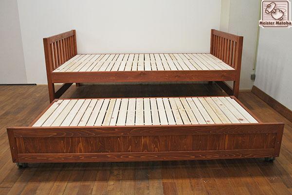 ひのき親子ベッド着色仕上げトランドルベッド