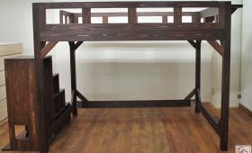 幅152cmベッド下127cmの大きなロフトベッド階段付 NO1705006