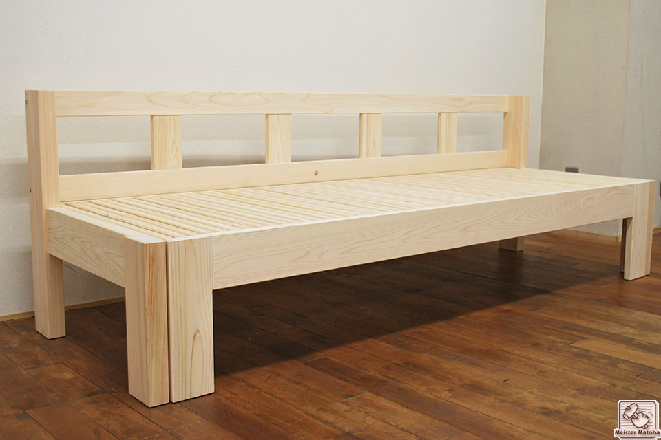 ひのき伸縮ソファーベッド、ベンチベッド背もたれ付き NO1708034
