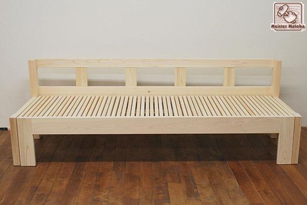 ひのき伸縮ソファーベッド、ベンチベッド背もたれ付き