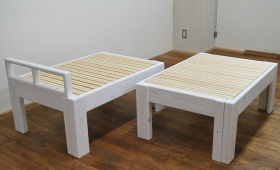 白の伸縮ベッドハーフサイズ 2台連結で196cm 1710012