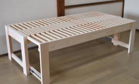 ひのき伸縮ベッド高さ53cmのミドルベッド 1802011