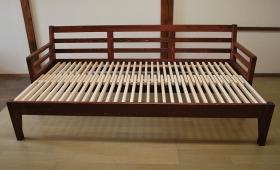 ひのき伸縮ソファーベッド チーク色 1802021-1