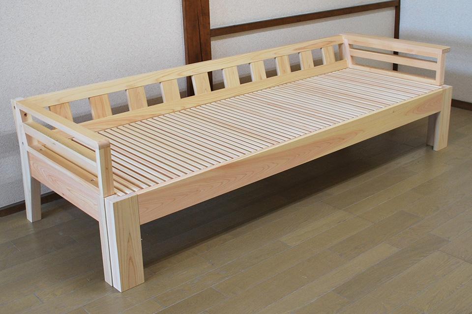 無垢ひのき伸縮ソファーベッド 背と袖の高さ同じ、片袖板付き 1804049