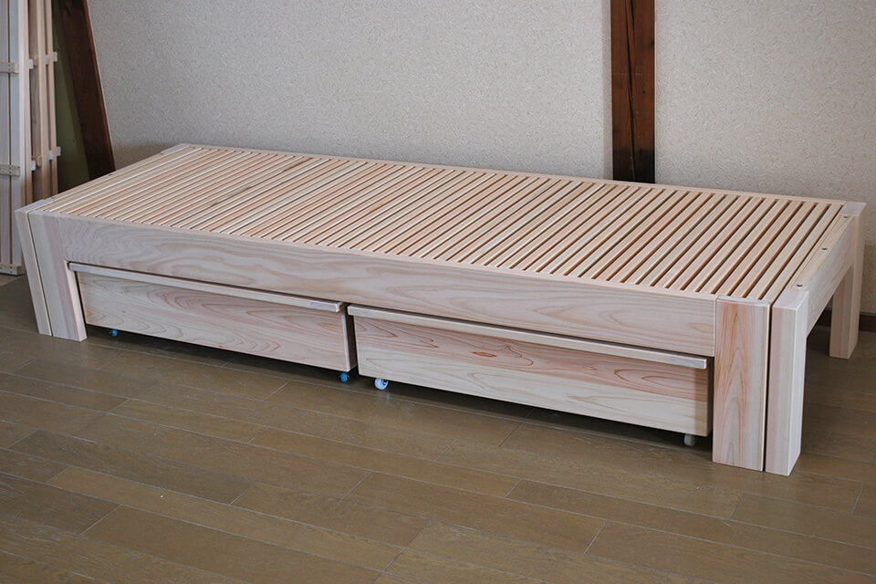 ひのき伸縮ベッドと収納ボックスの組み合わせ 1809031