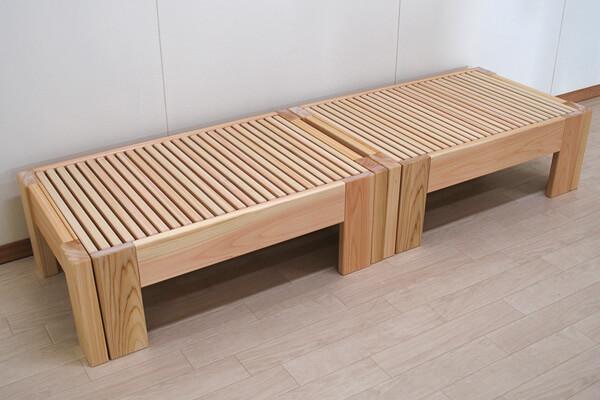 ひのき伸縮ベッドハーフサイズ