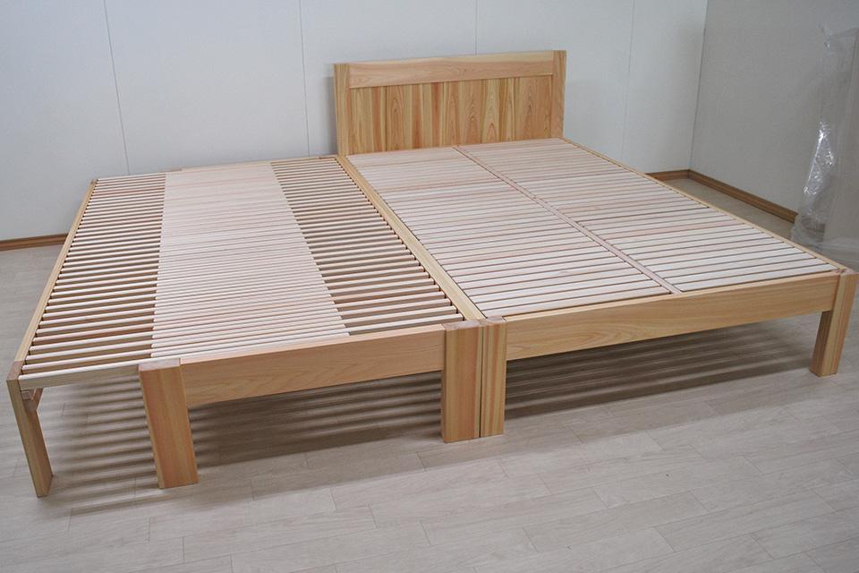 ひのきセミブル2台連結、うち一台広がる伸縮ベッド 1905017