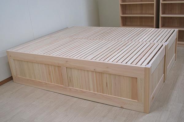 ベッド下を収納に使える 囲んだひのきオーダーベッド 1905005