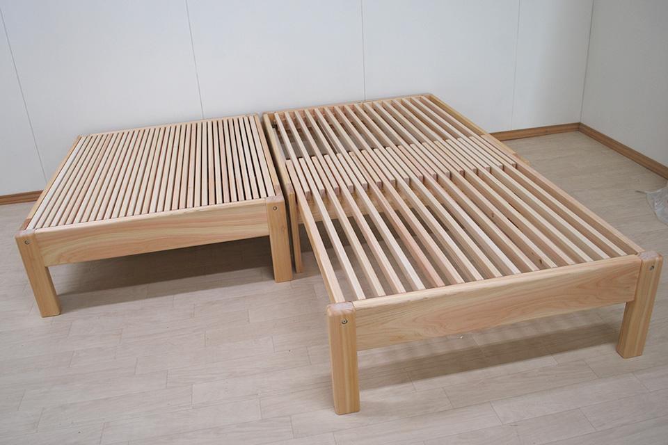 シングルサイズの伸長ベッド 長さ120cmが今回は195cmまで伸ばせます 1908015