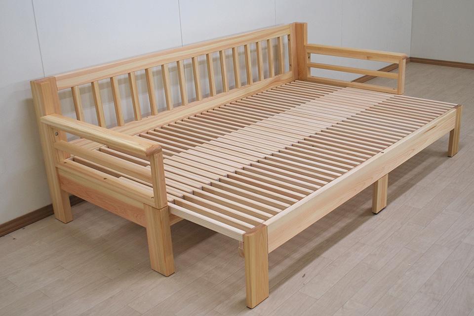 ひのきソファーベッド 座面80cmから120cmに広がる伸縮ベッド 1911026