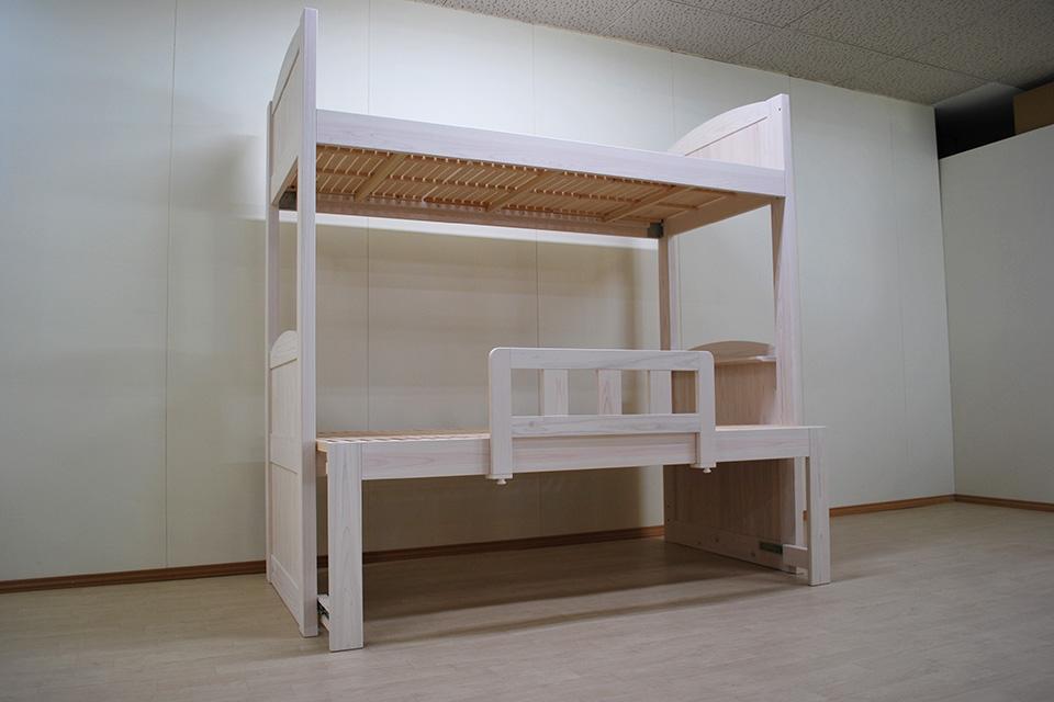 上段シングル下段セミダブル伸縮ミドルベッドのオーダー二段ベッド NO2001044