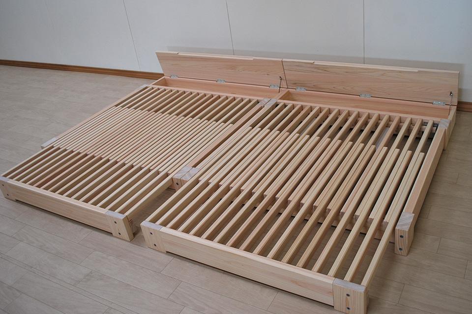 出来るだけ寝台の高さが低いセミダブルサイズ伸縮ベッドプラス収納BOX NO1808033
