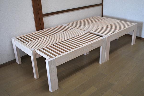 無垢ひのき伸縮ベッドハーフサイズ 置き方は自由に NO1905018