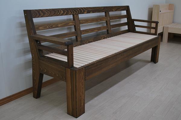 セミシングルの広がる木製ソファーベッド ウォールナット着色仕上げ 2010041