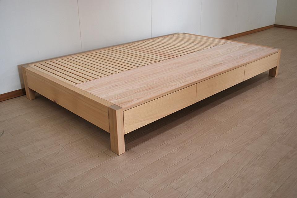 ひのき引き出し付きフラットベッドでロボット掃除機の通れるベッド 2010032