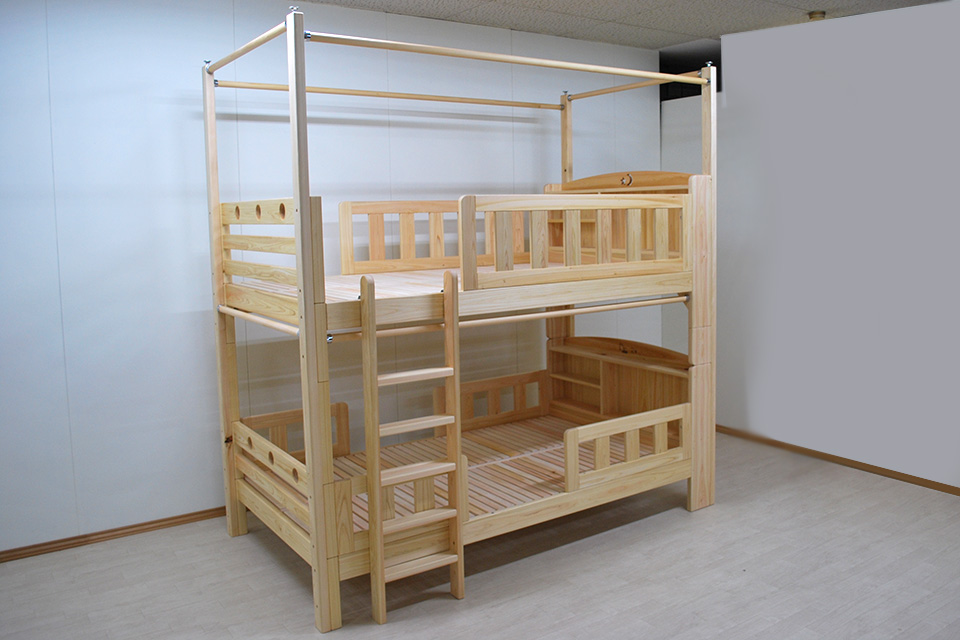 四方を囲めるオーダー棚付き二段ベッド セミダブルサイズ 2011017