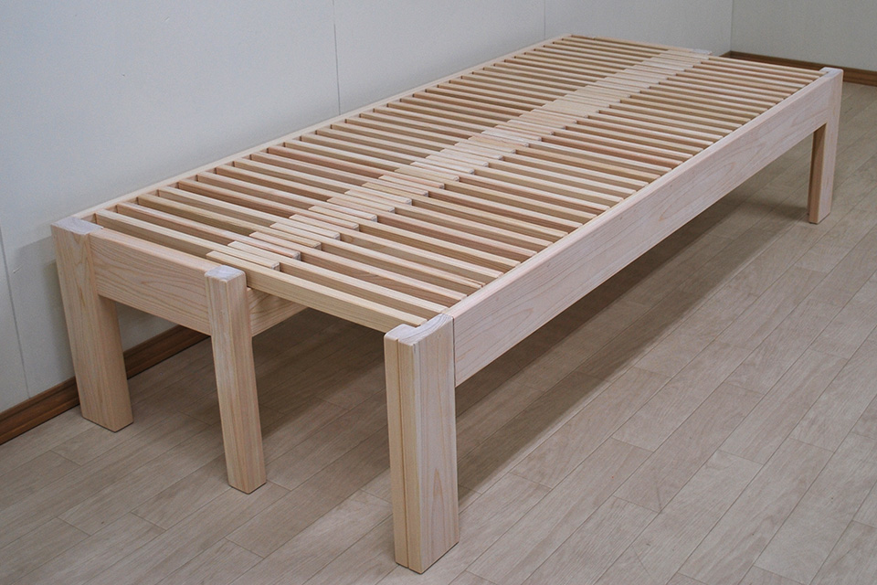 ひのき広がるベンチ ひのき伸縮ベッド セミシングルホゾ組 2010063