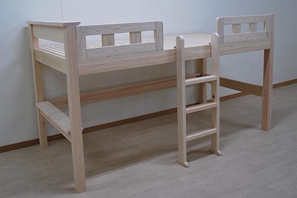 ちょっと置ける棚板12cm寝台高さ95cmのオーダーミドルベッド 2012003