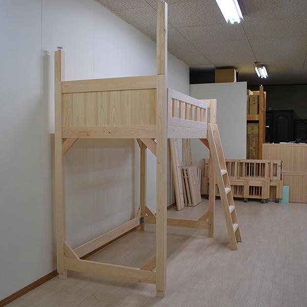 ひのきロフトベッド 天井までツッパリあり シングルサイズ2012002