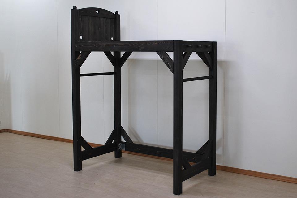 幅75cm長さ140cm小さいけれど背が高いロフトベッド 黒っぽい着色 2102021