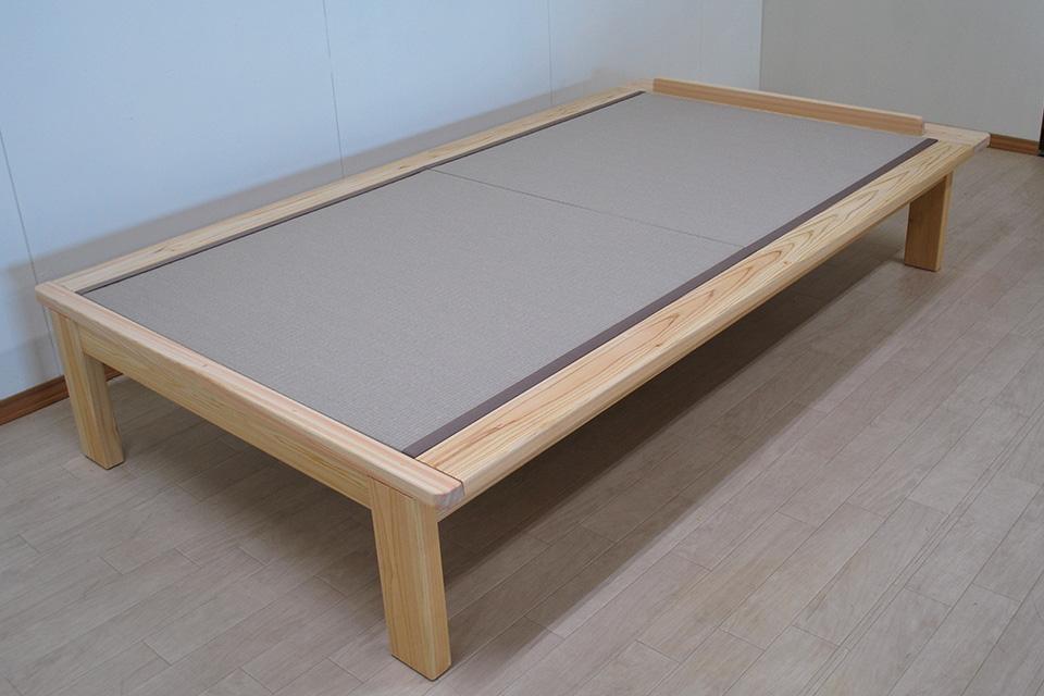 ひのきヘリ付き和紙畳ベッド 和紙畳 寝具が壁につかないようストッパー付き2103069
