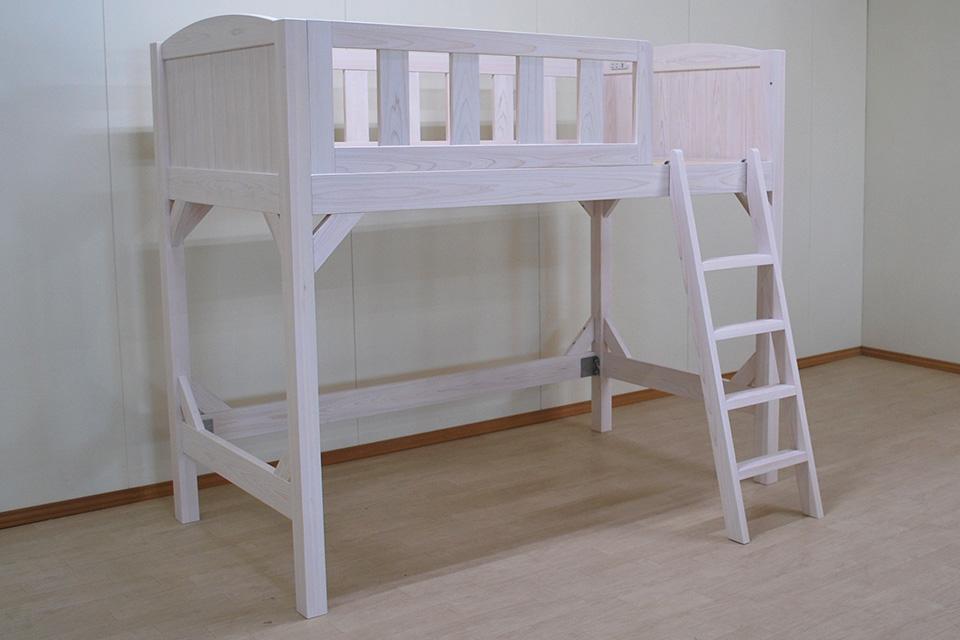 白いロフトベッド長さ190cm 寝台高さ120.5cmベッド下空間110cm 2101008