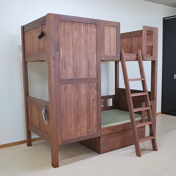 ひのきオーダー畳の二段ベッド目隠し板付き 2104025