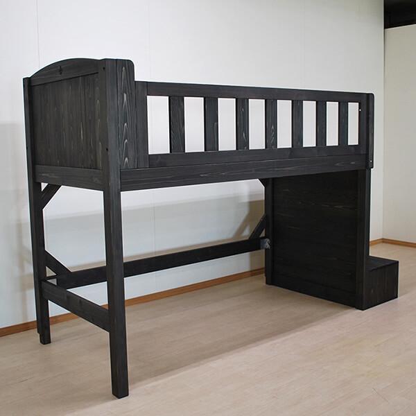 ひのきオーダー階段付きロフトベッド 黒着色 シングルサイズ 2103066