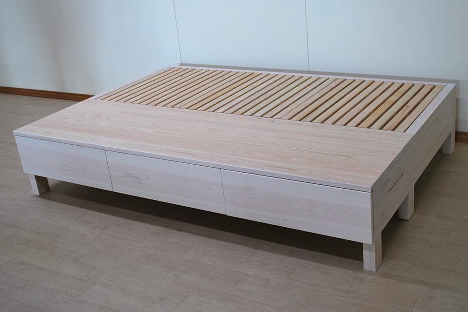 長さ180cm引き出し付きセミダブルオーダーベッド 白塗装仕上げ2105007