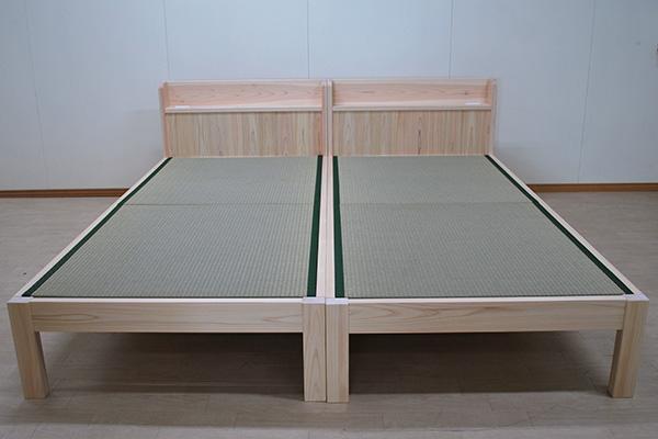 ひのき畳ベッド 棚付き2台並ぶと畳のスペース確保ですね 2105016