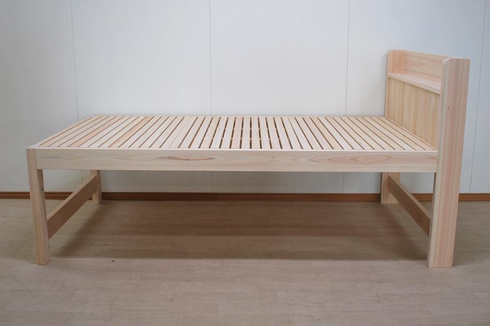 ひのき棚付きミドルベッド 寝台高さ61cm 2105024