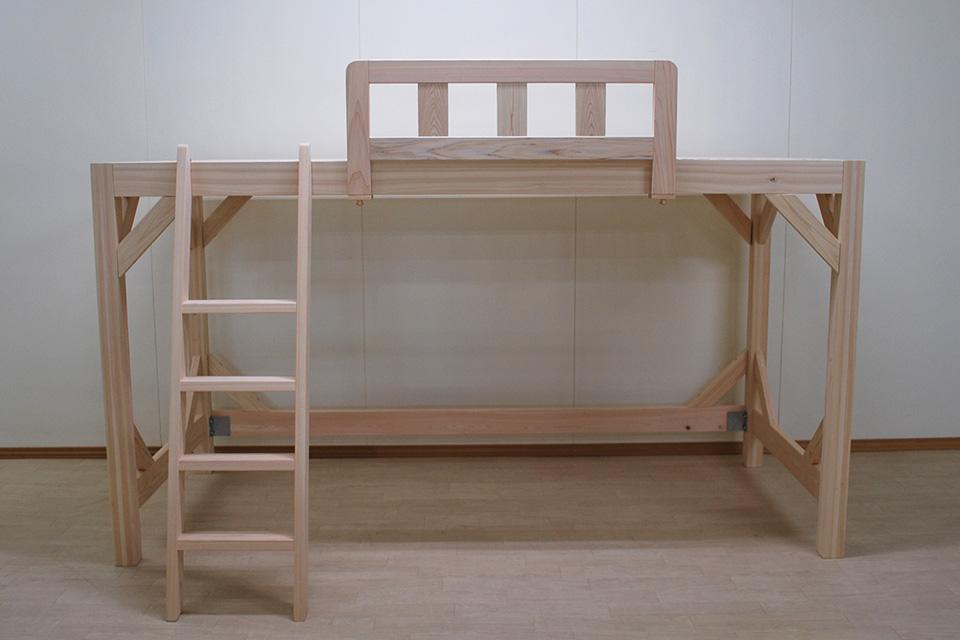 長さ240cmのシングルロフトベッド 下の空間高さ120cm 2105025